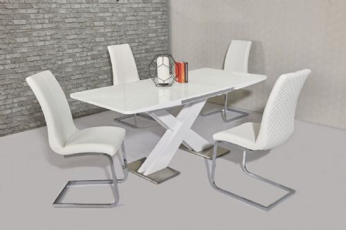 GA NIRVANA Gloss 140 / 180 cm EXTENDING White Dining Table & Chairs Grey Cream